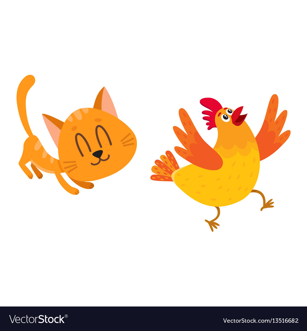 Funny red cat kitten character chasing playing