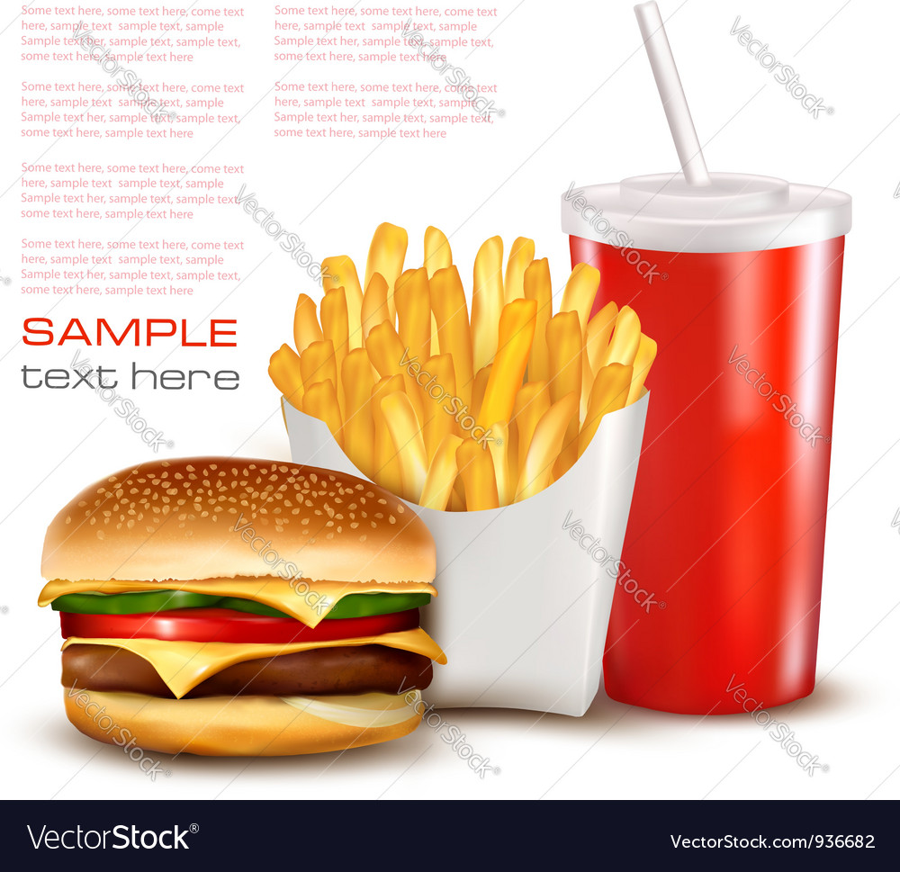Hamburger with drink and chips vector image
