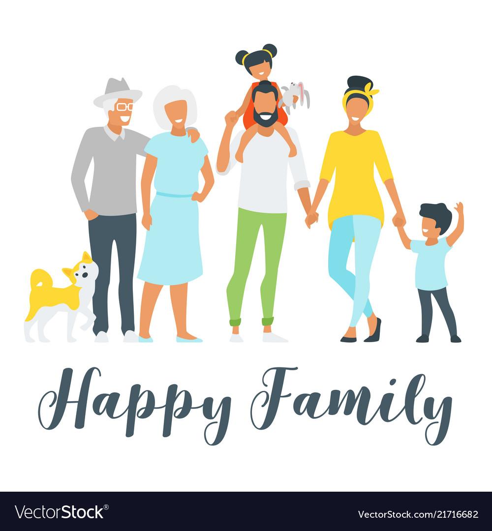 Happy family members