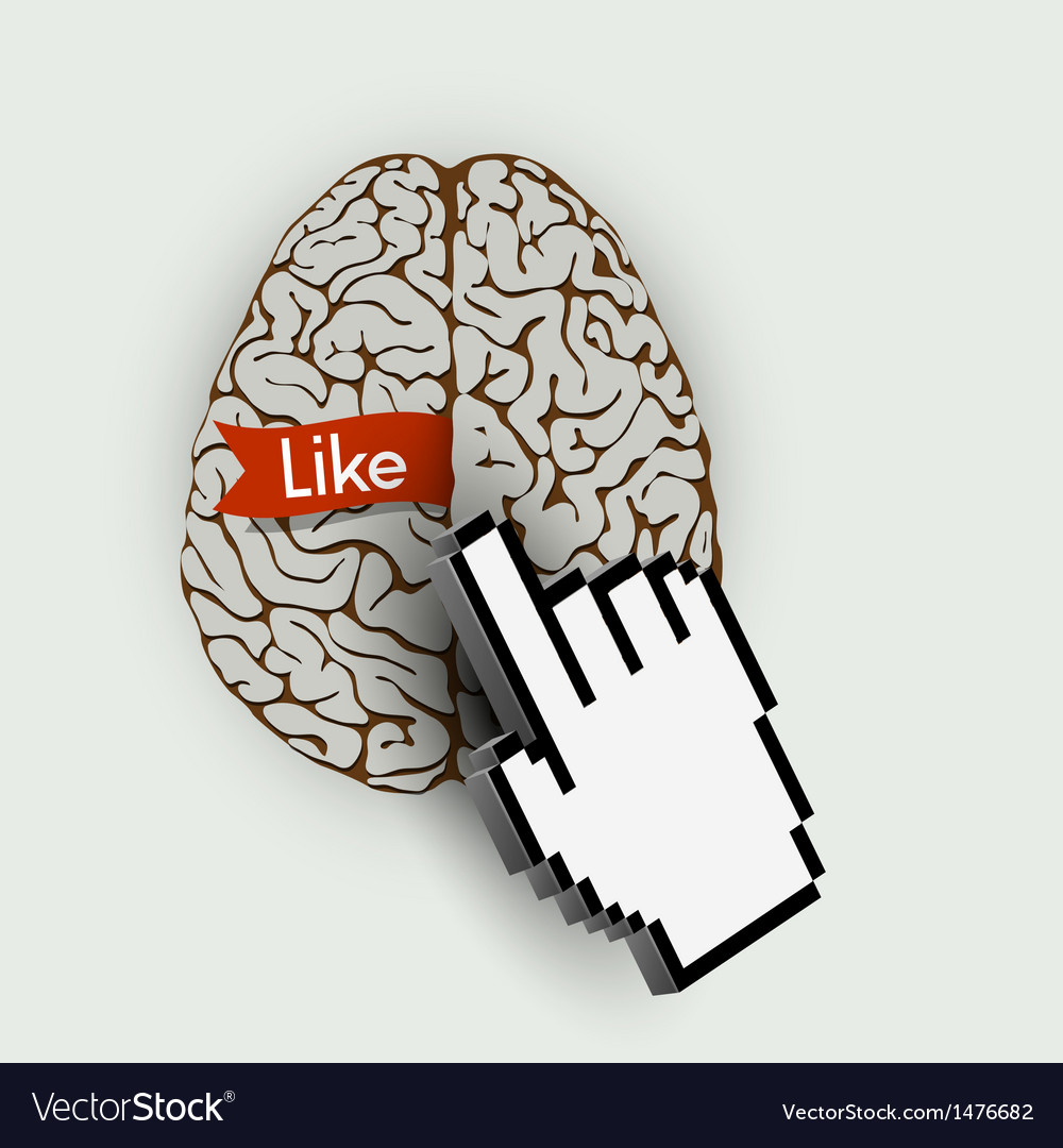 Human brain with link selection hand computer vector image