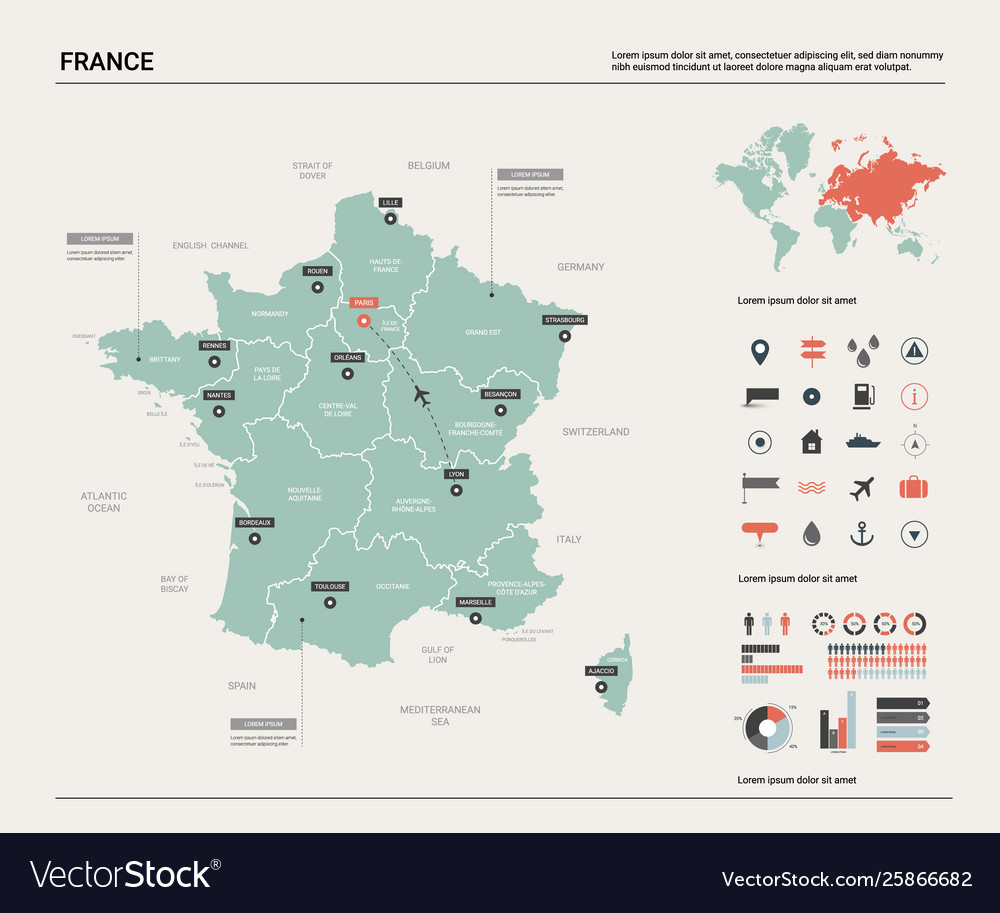 Country Map Of France.Map France Country Map With Division Cities