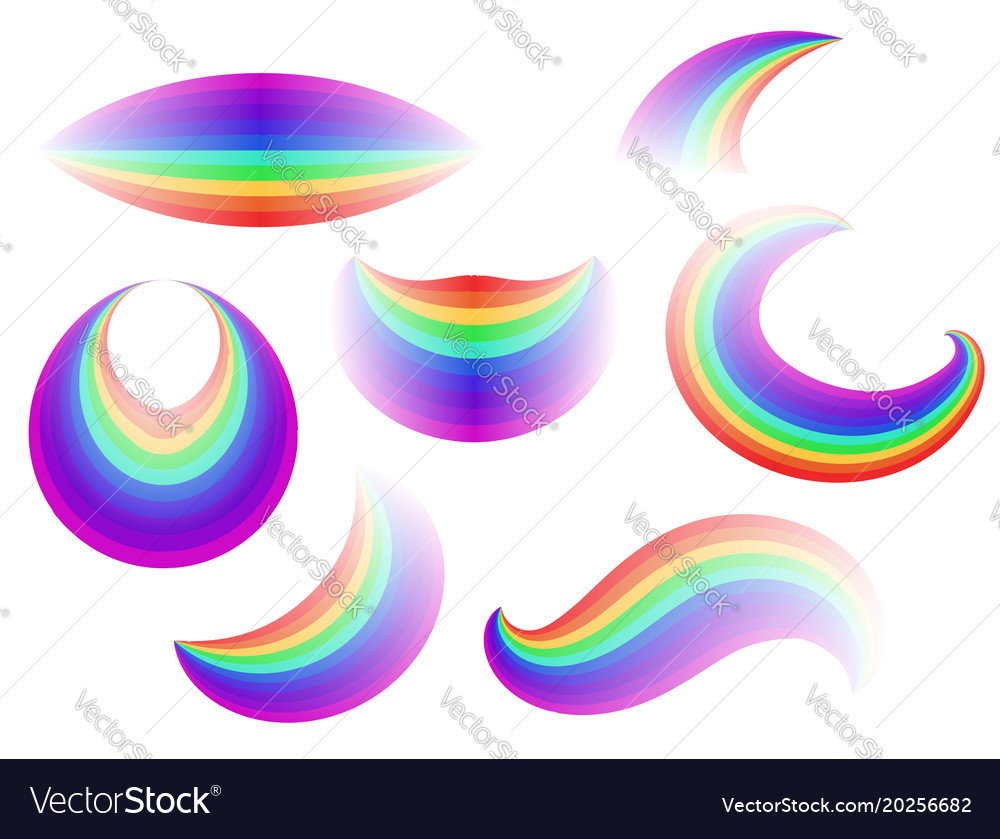 Set of different forms of the rainbow