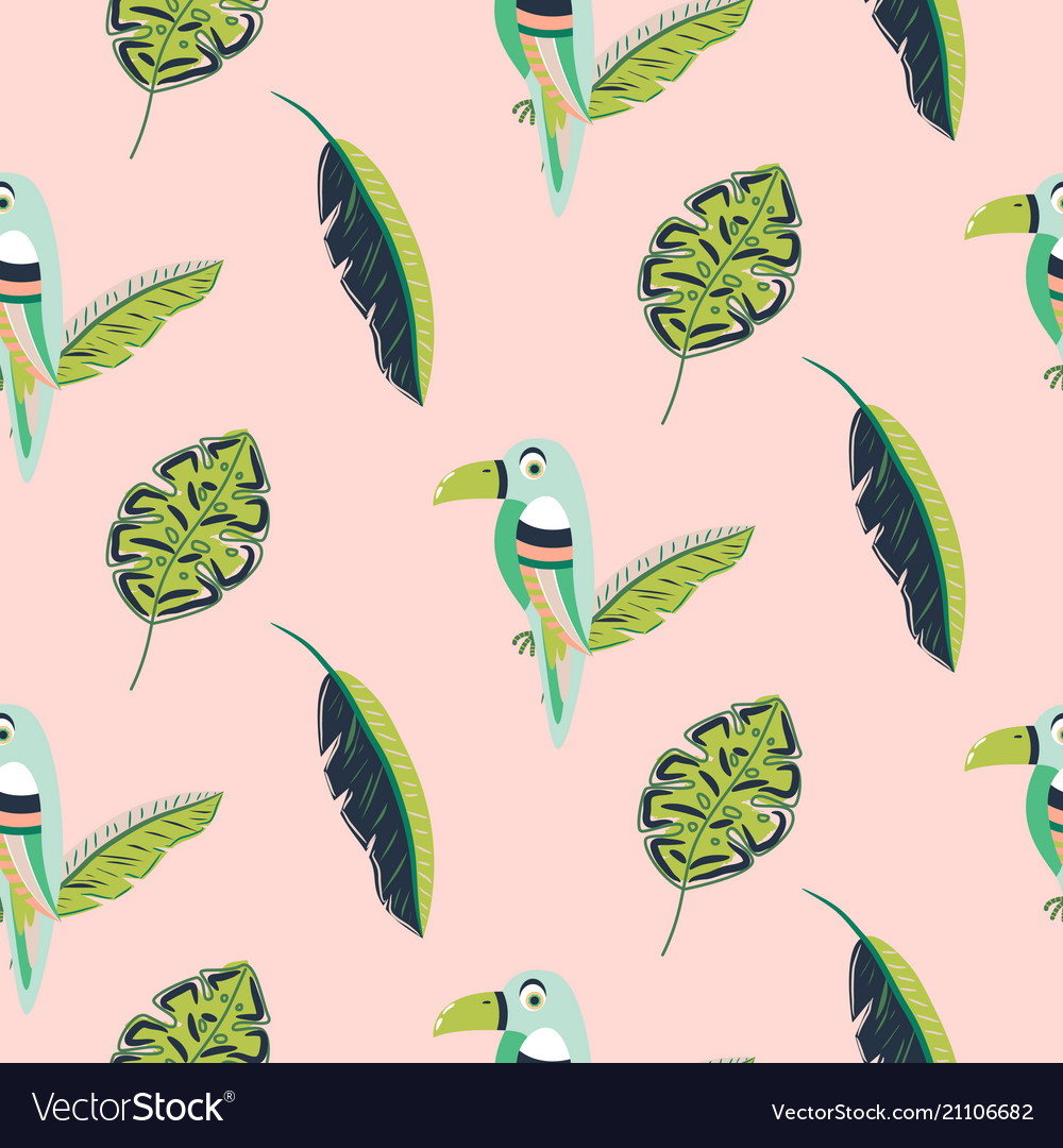 Toucan bird and leaves pattern seamless