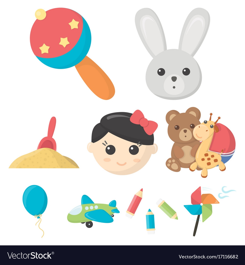 Toys set icons in cartoon style big collection of