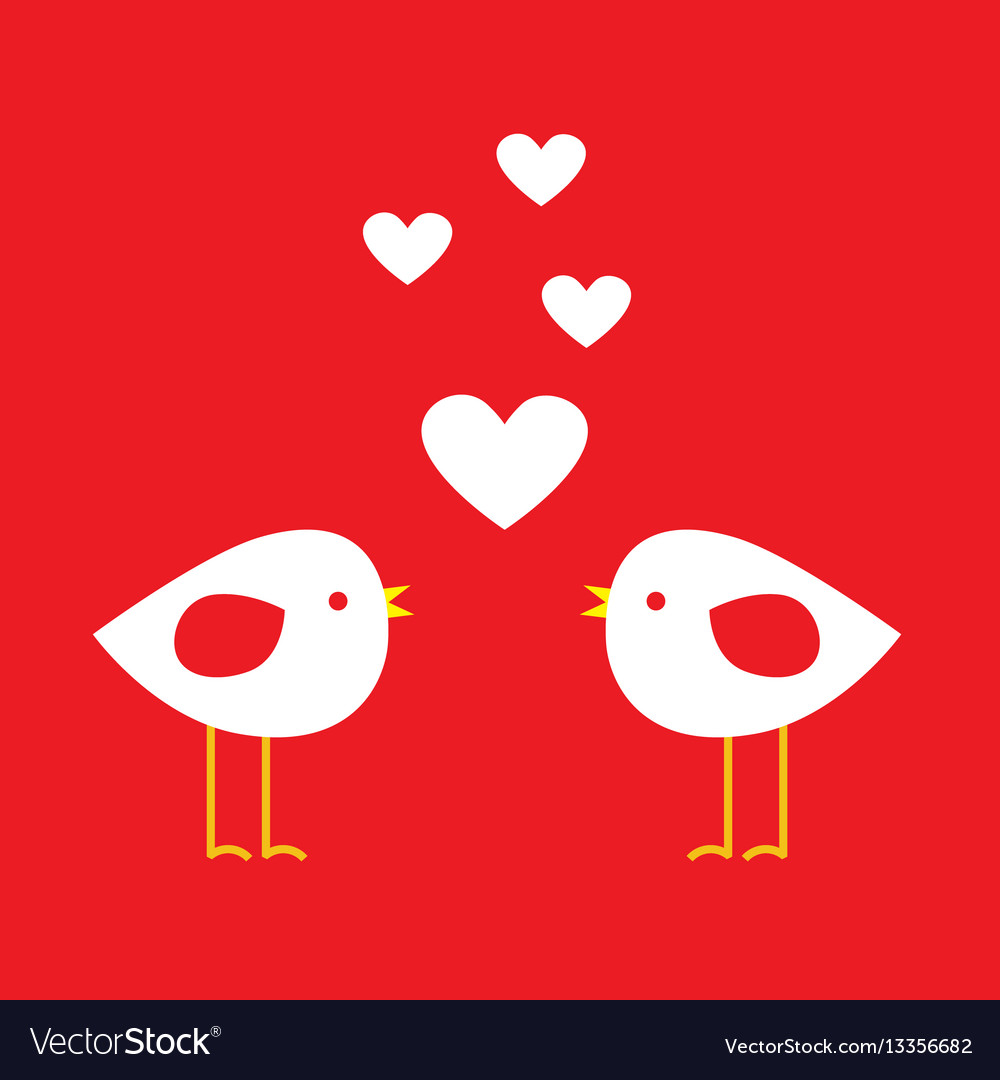Two cute birds with hearts