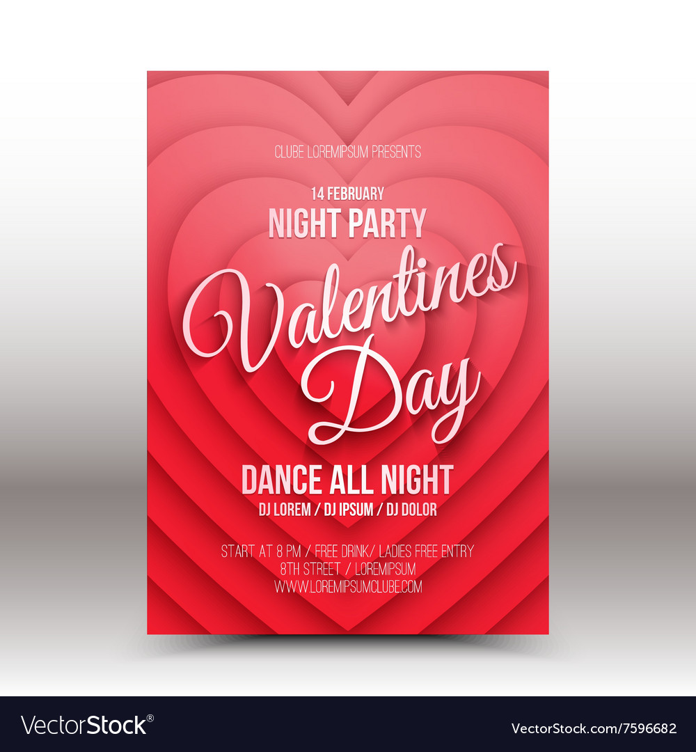 Valentines Day night party flayer