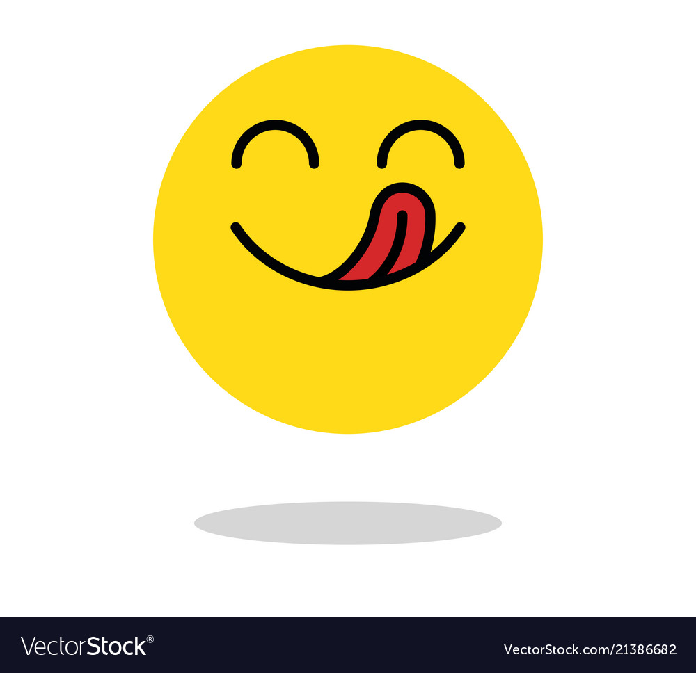 Yummy icon hungry smiling face with mouth