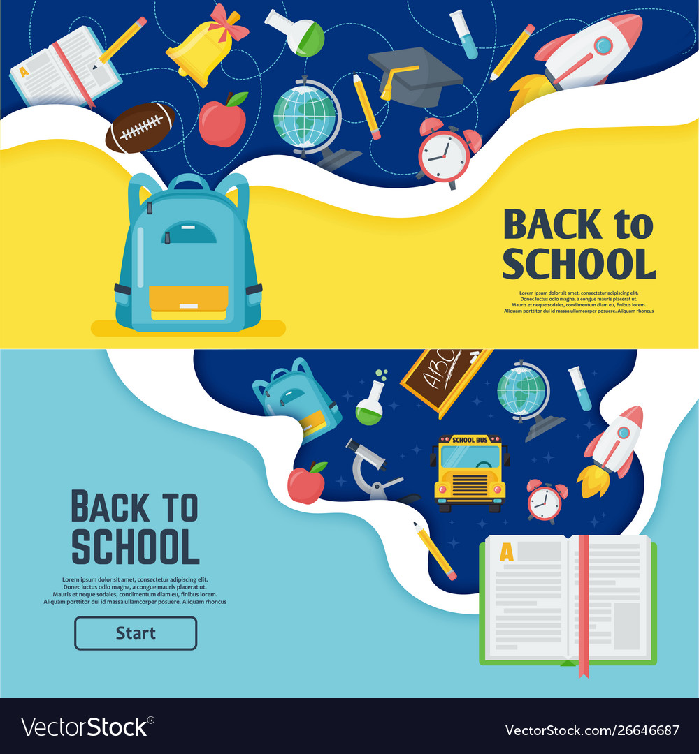 Back to school banner classroom bright poster
