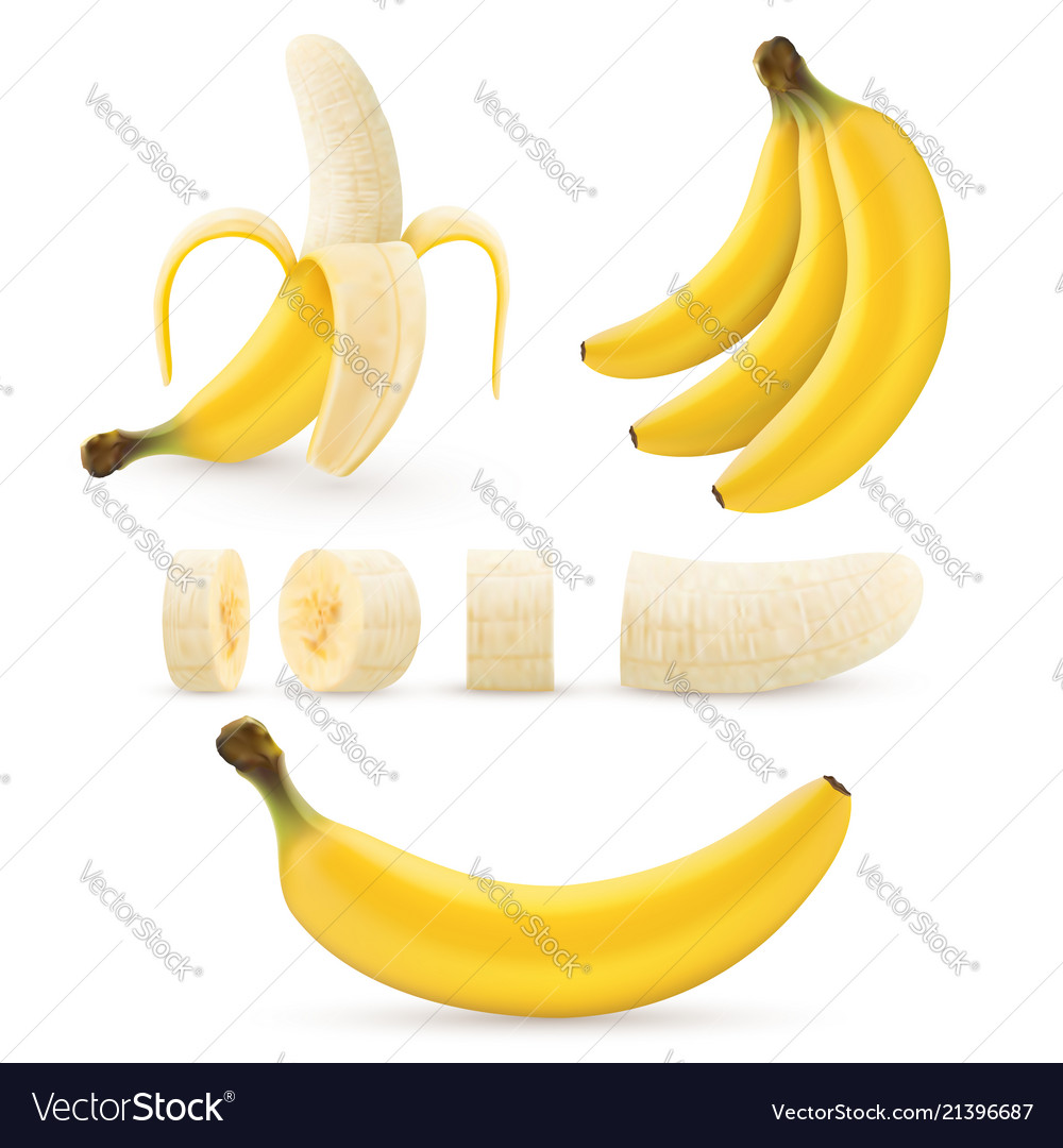 Banana fruit set bunches fresh tropical bananas