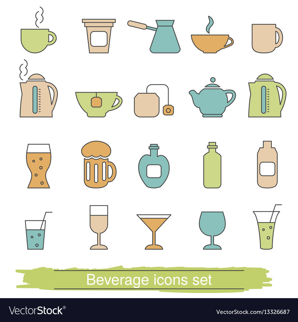Beverage icons set beverage icons set vector image