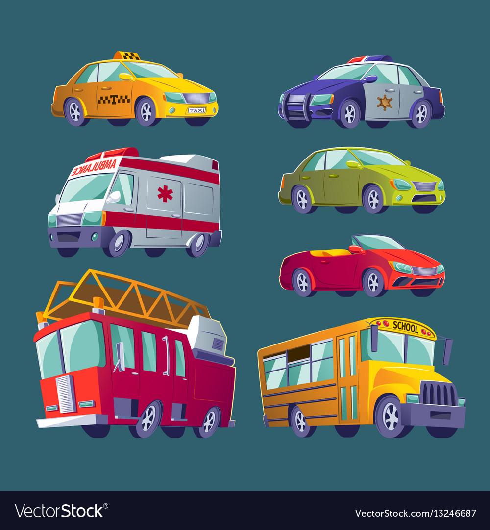Cartoon set of isolated icons of urban transport