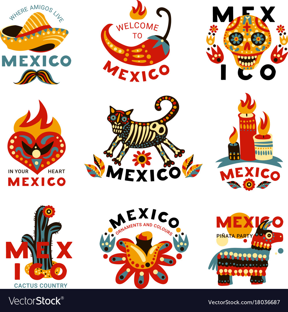 Dead day mexico icons set