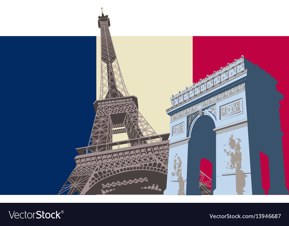 France with paris flag vector image