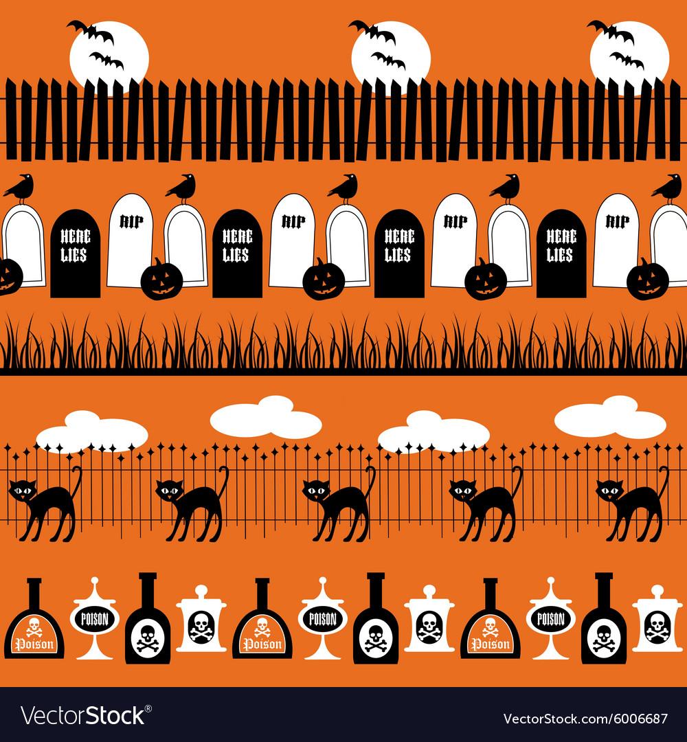 Halloween border patterns vector image