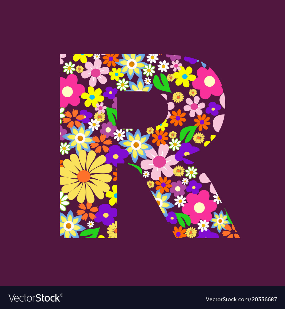 Letter of beautiful flowers r royalty free vector image letter of beautiful flowers r vector image altavistaventures Choice Image
