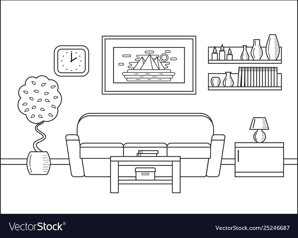 Outline Living Room Interior In Art Flat Design