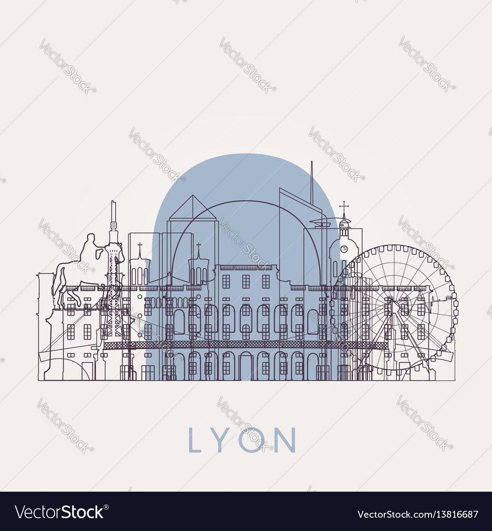 Outline lyon vintage skyline with landmarks