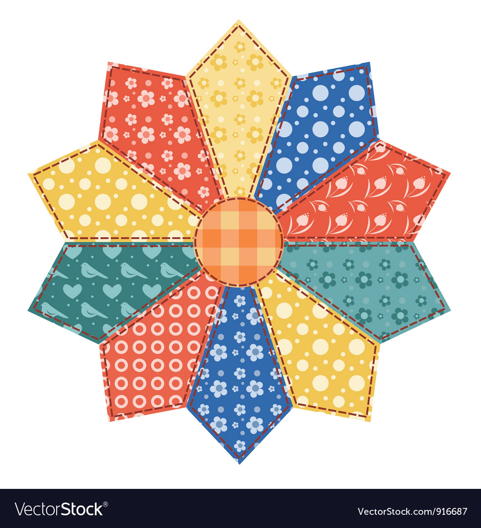 Patchwork abstract flower vector image