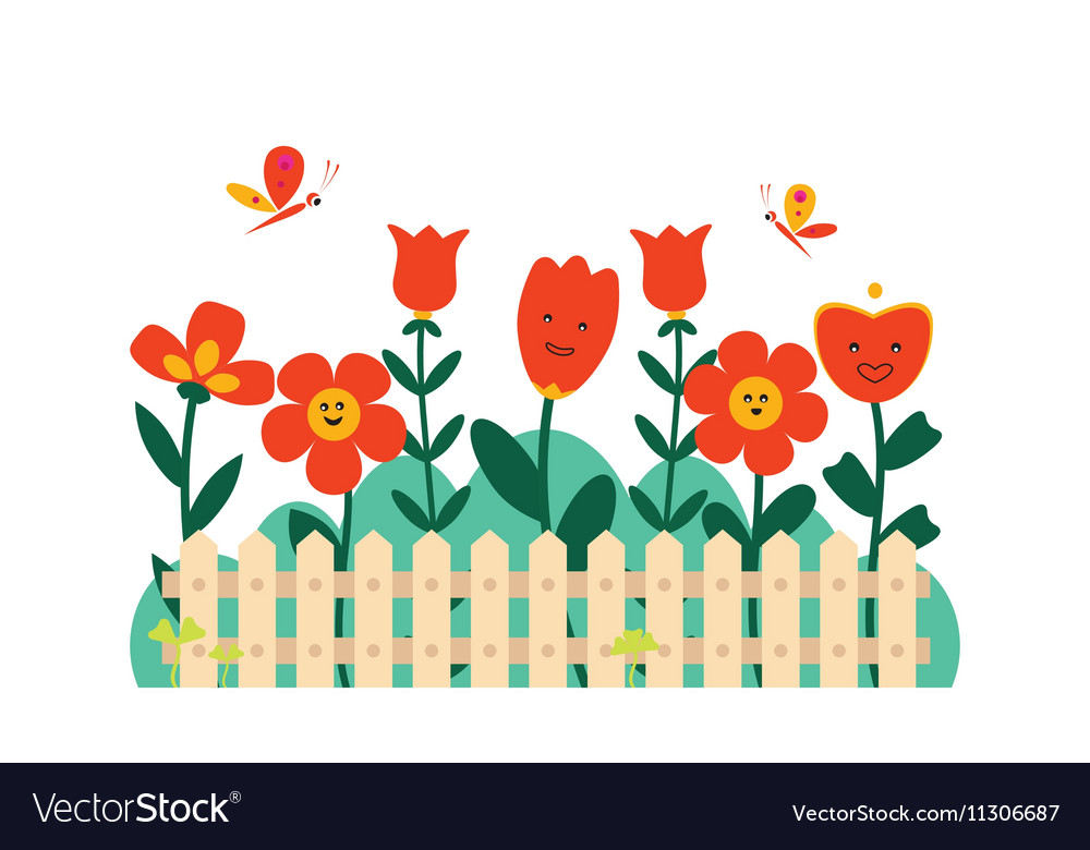 Spring Flowers In A Small Garden Royalty Free Vector Image