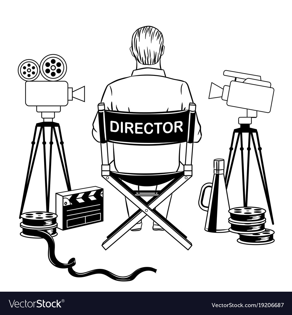 Stage Director On Set Coloring Book Vector Image