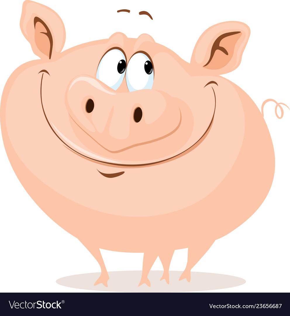 The cute fat pig smiling cartoon