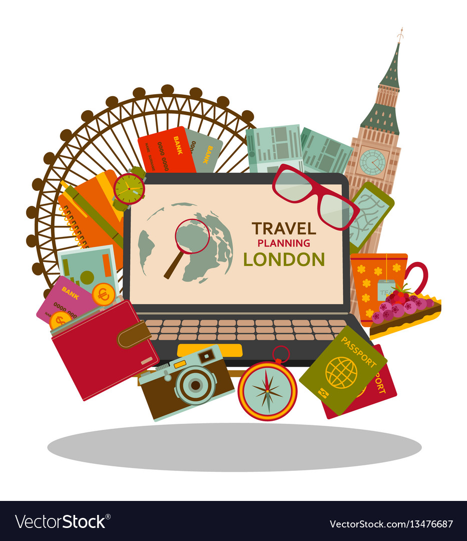 Travel planning to london flat concept