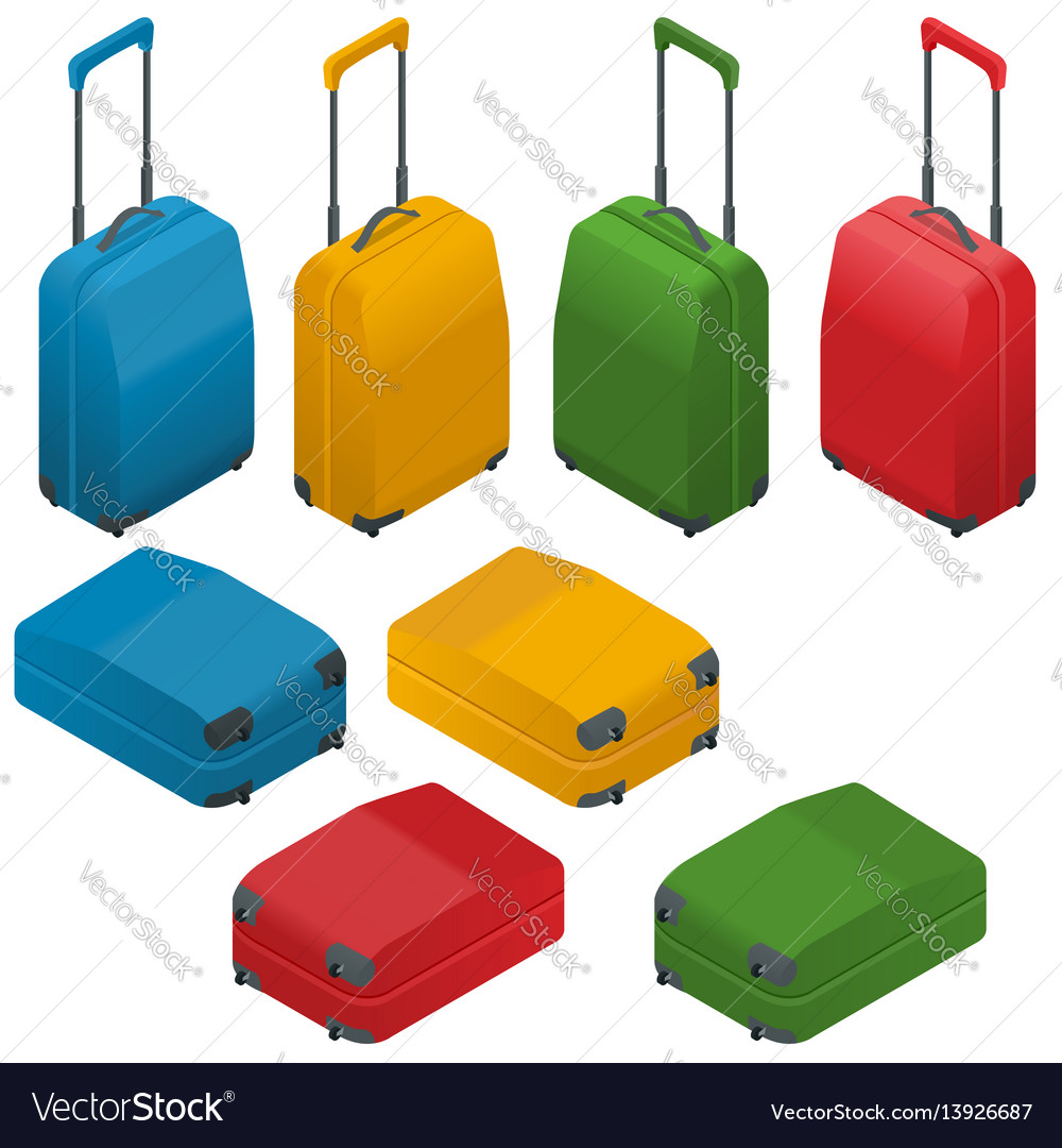 Travel suitcases flat isometric
