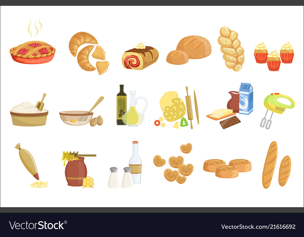 Bakery and pastry products icons set with various