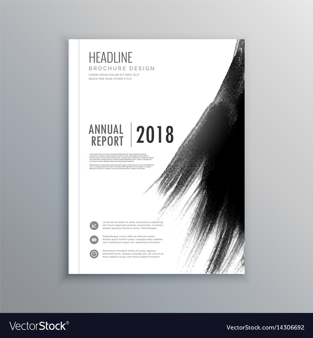 Business magazine brochure with black paint stroke