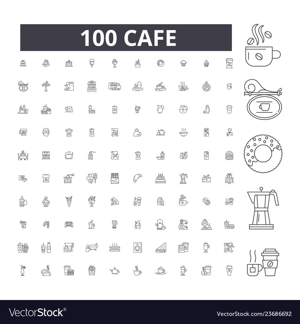 Cafe editable line icons 100 set