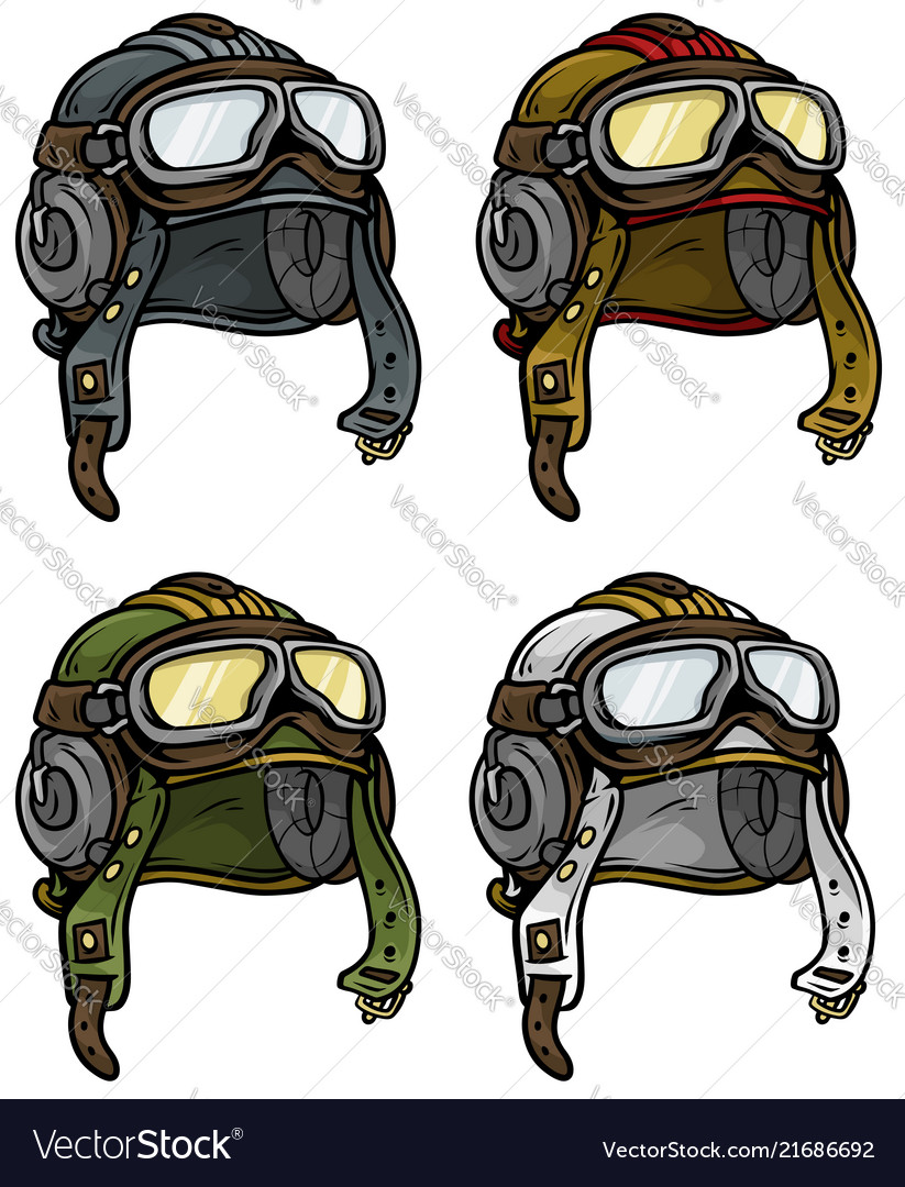 Cartoon retro aviator pilot helmet icon set