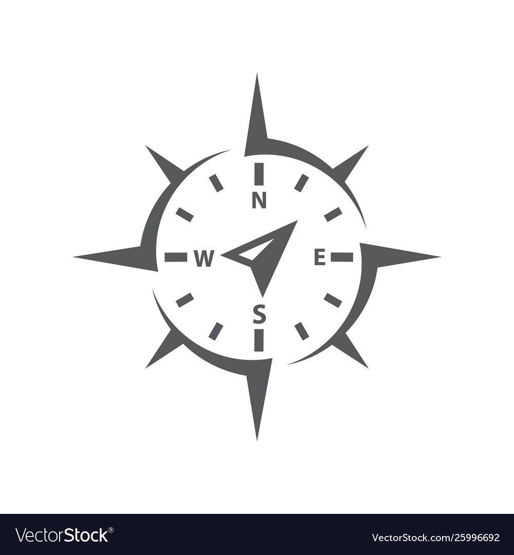 Compass icon on white background