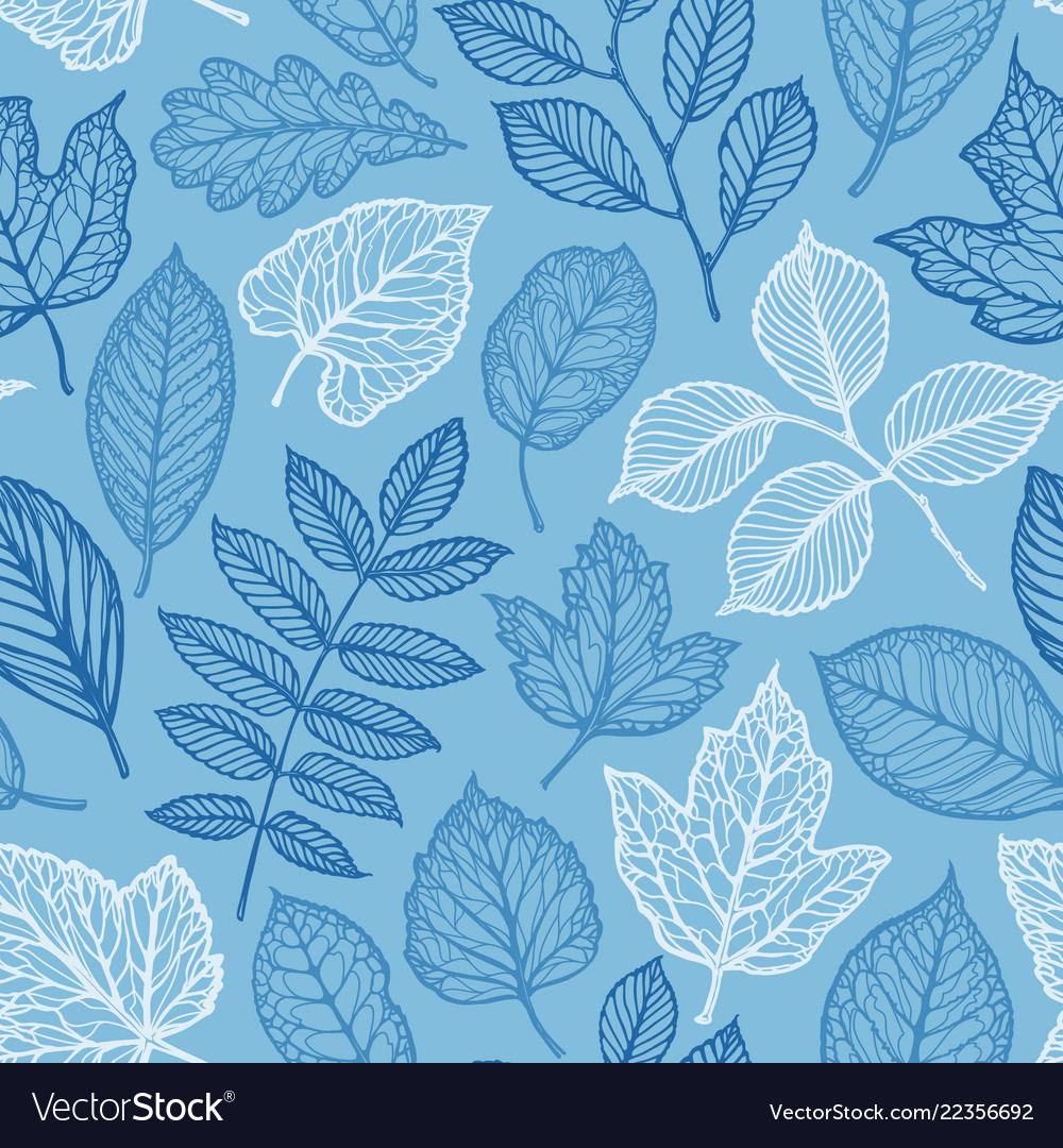 Floral pattern hand-drawn decorative leaves