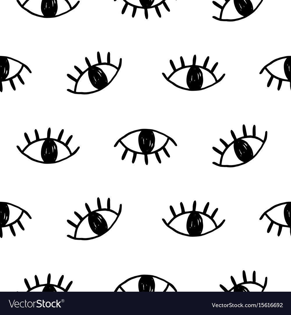 Hand drawn open eyes doodles seamless pattern vector image