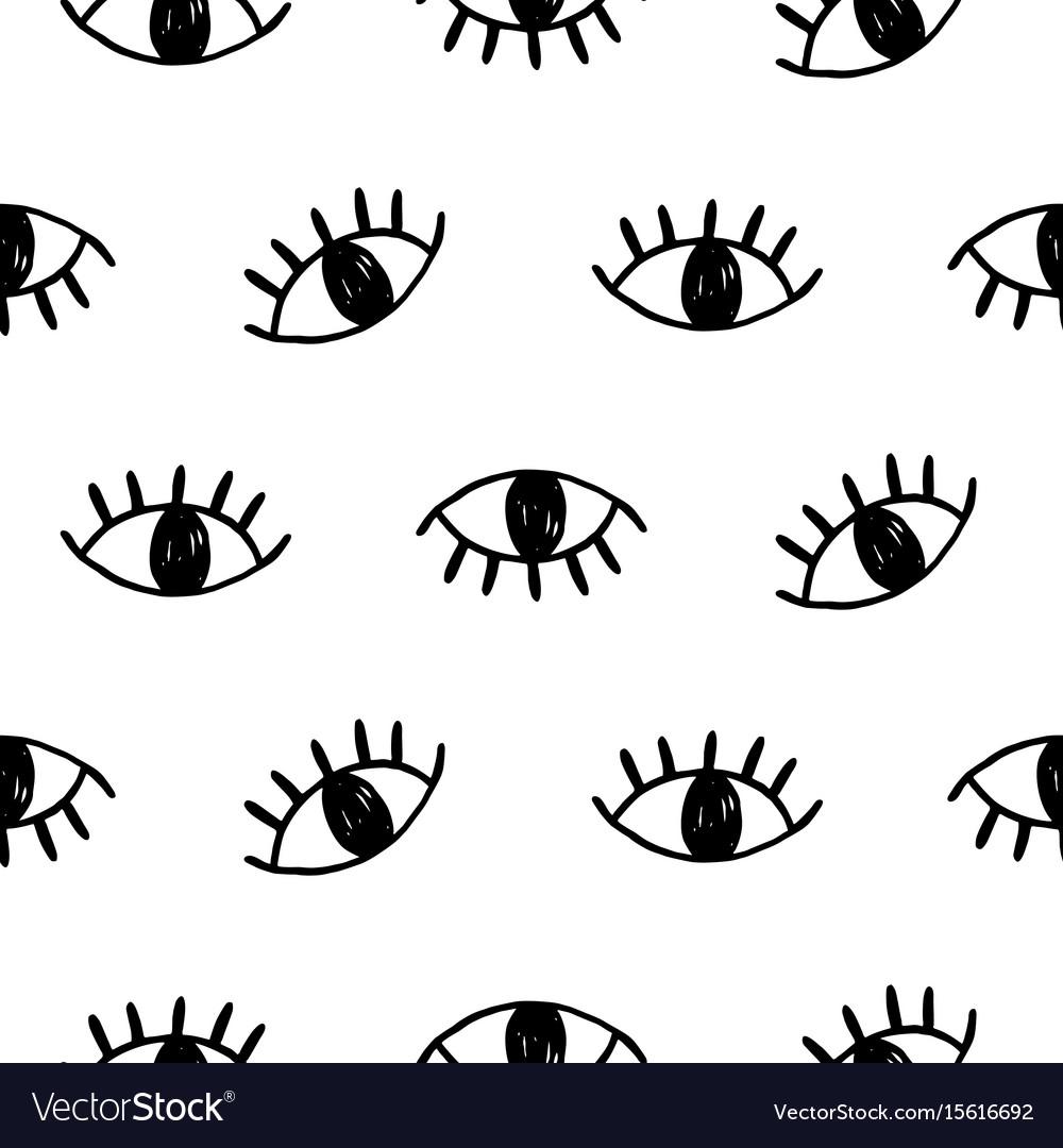 Hand drawn open eyes doodles seamless pattern