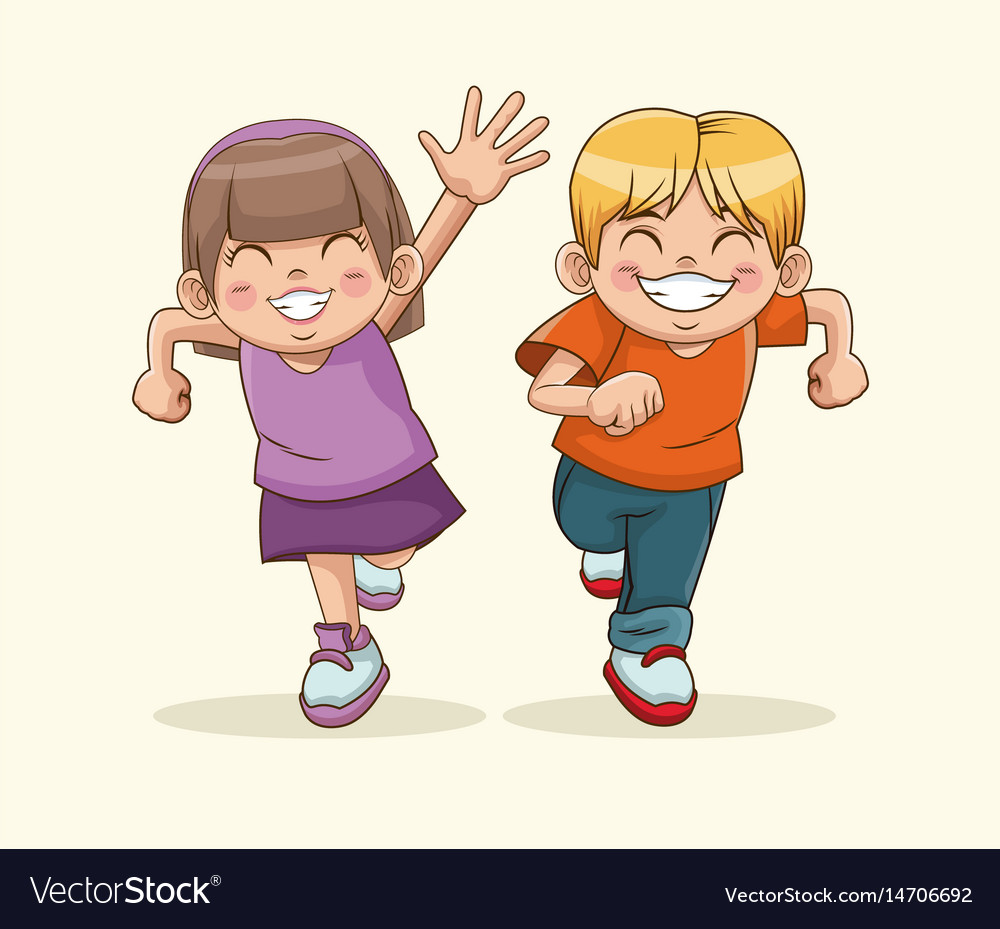 Happy children day boy and girl sweet children vector image