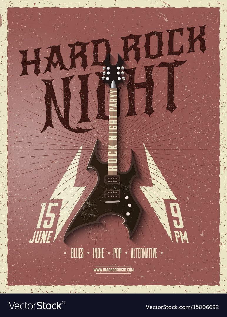 Hard rock night party flyer