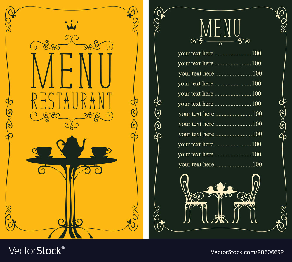 Menu with price image of served table and chairs