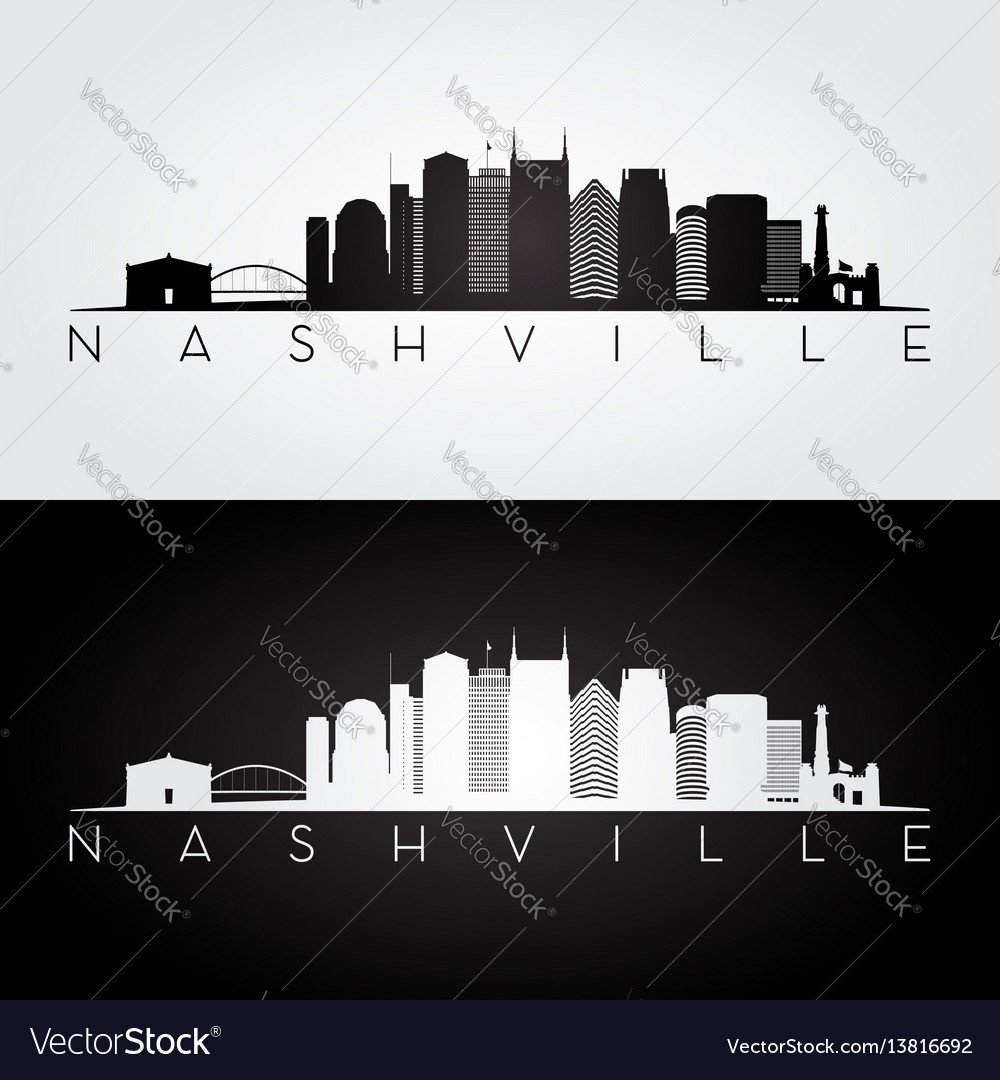 Nashville usa skyline and landmarks silhouette