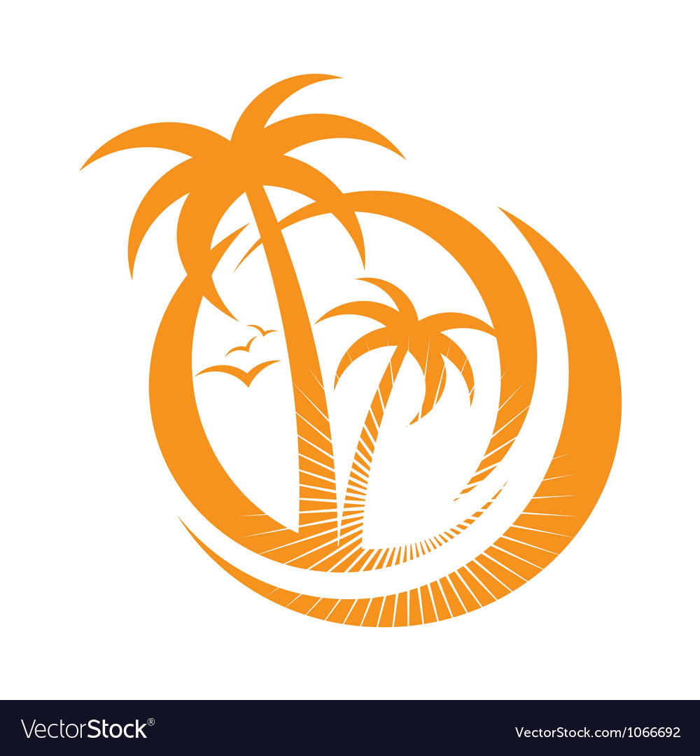 Palm tree emblems icon sign design element vector image