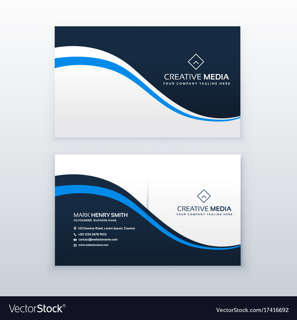 Professional business card design with blue wave Vector Image