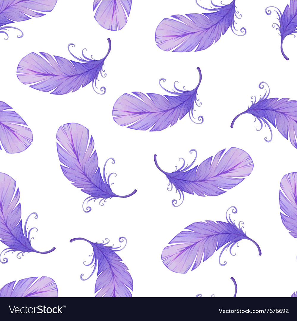 Watercolor seamless pattern with bird feathers