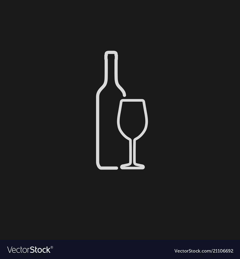 Wine bottle and wineglass white icon isolated