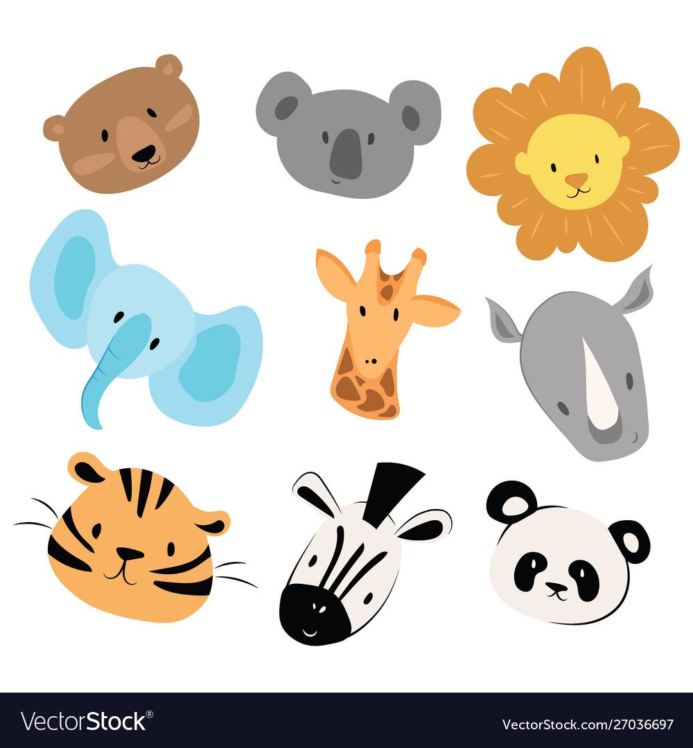 A set cartoon animals