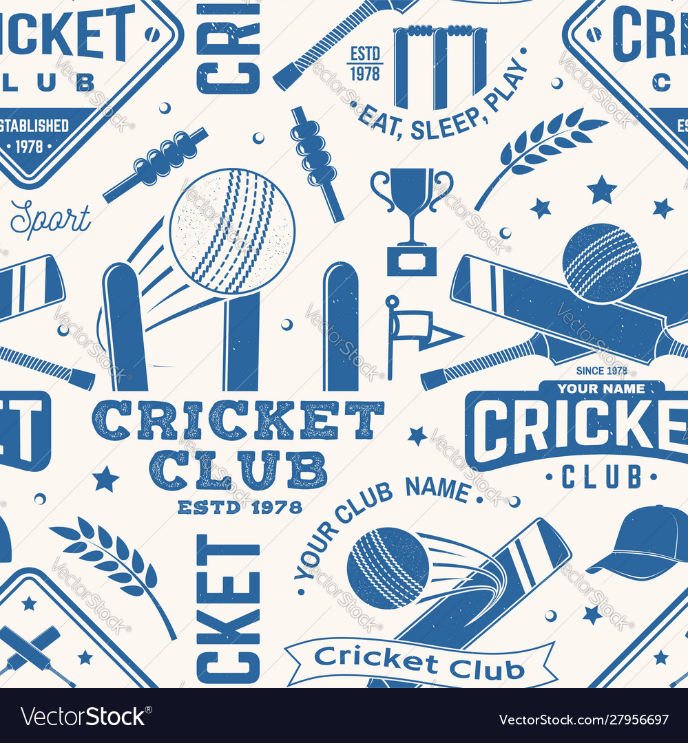 Cricket club seamless pattern or background