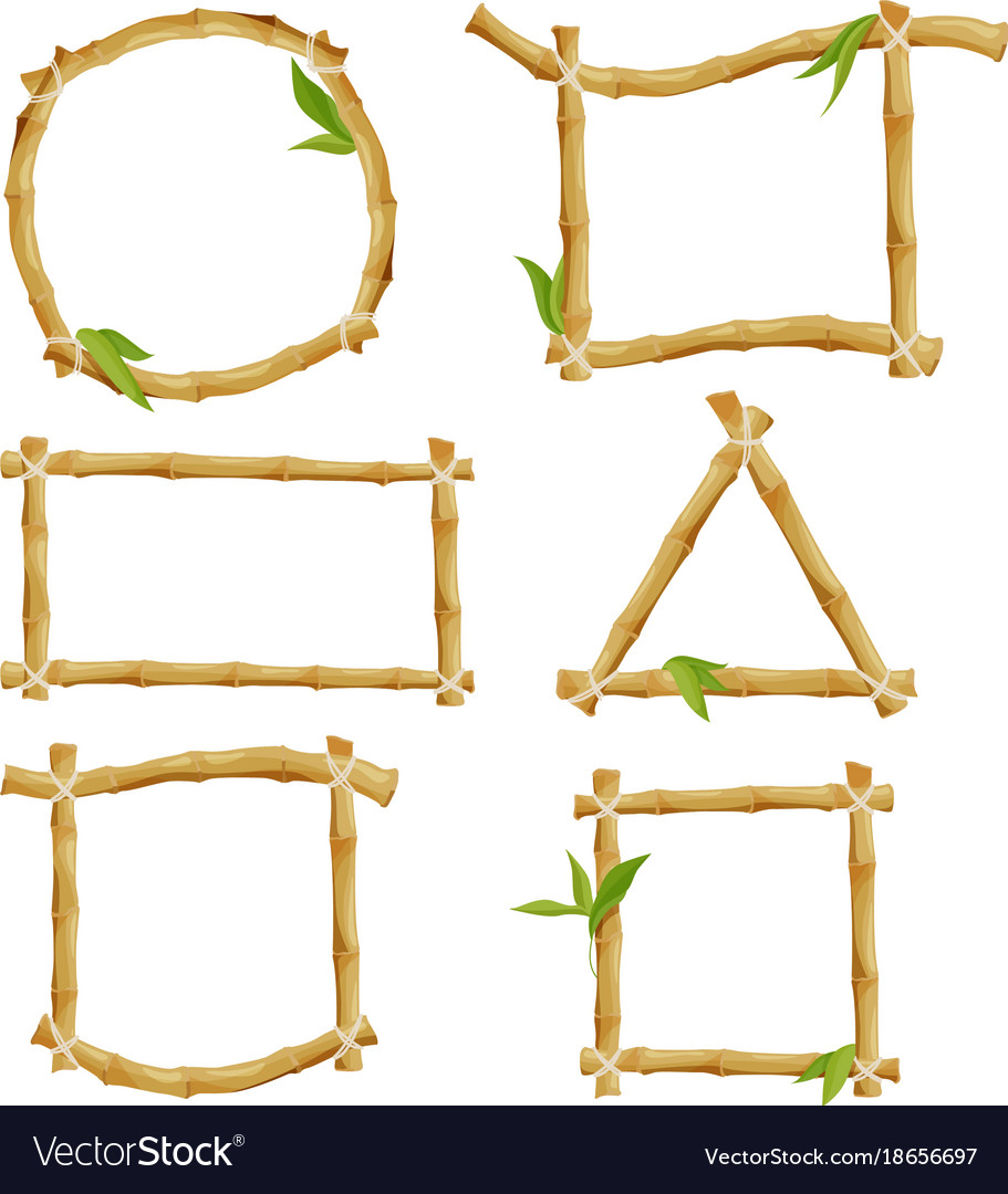 Different decorative frames from bamboo Royalty Free Vector
