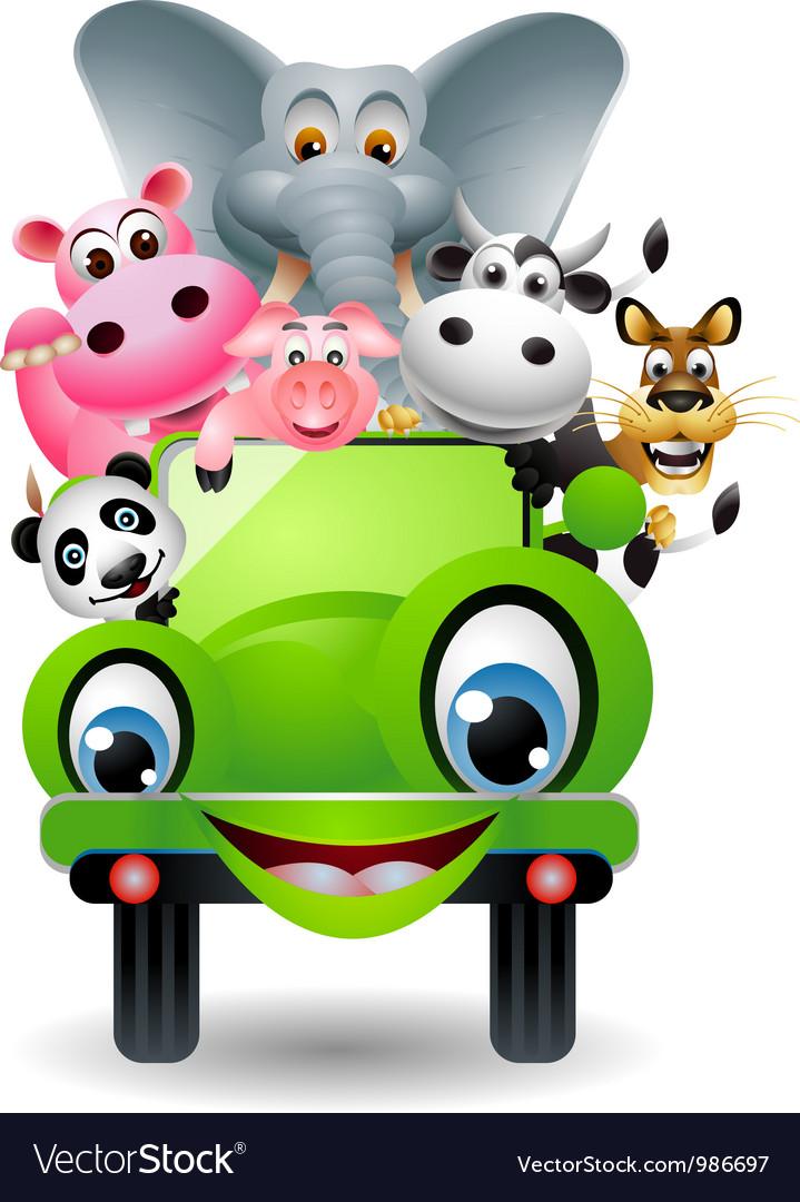 Funny animal cartoon in green car vector image