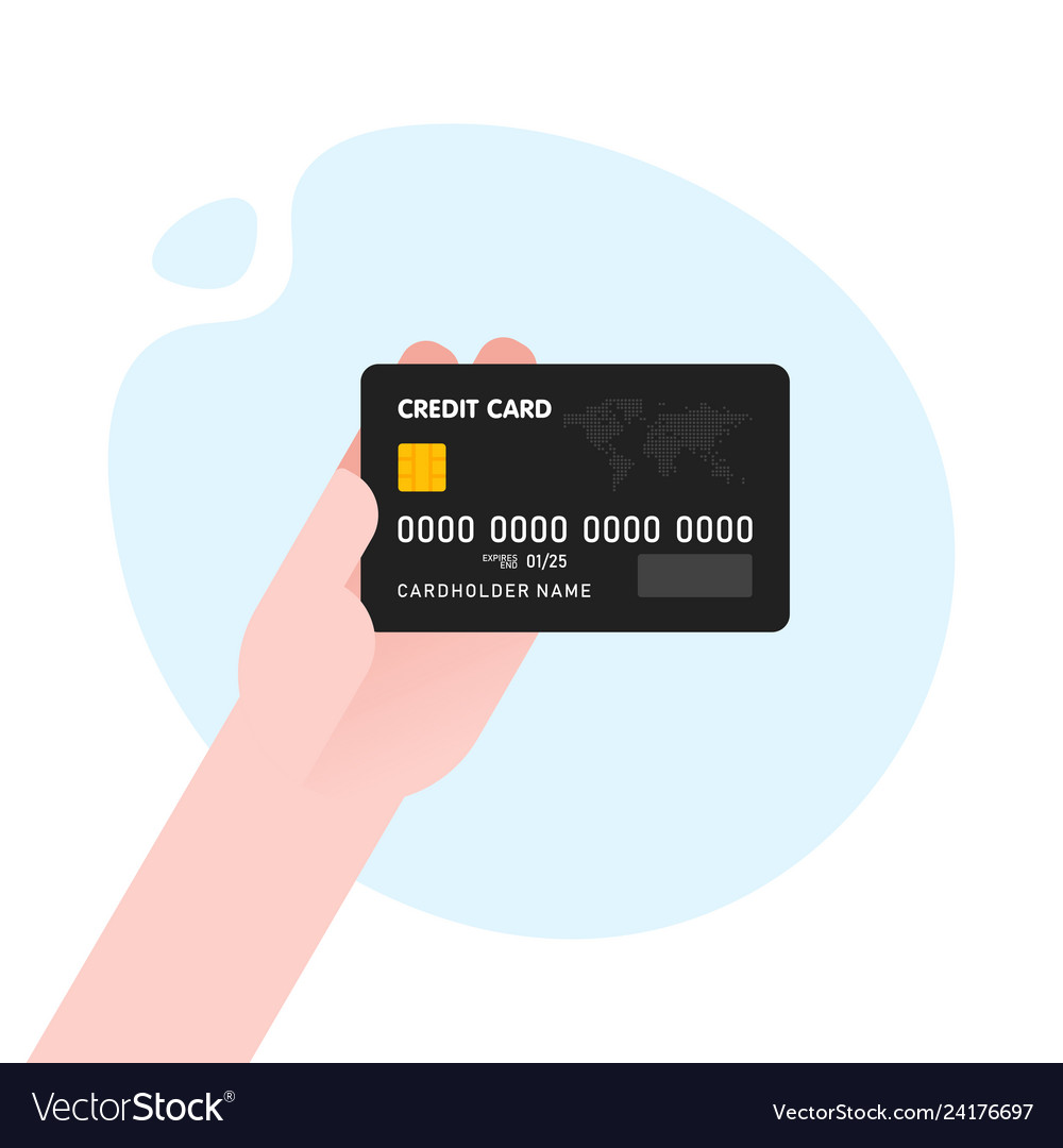 Hand with black credit card for payment on blue