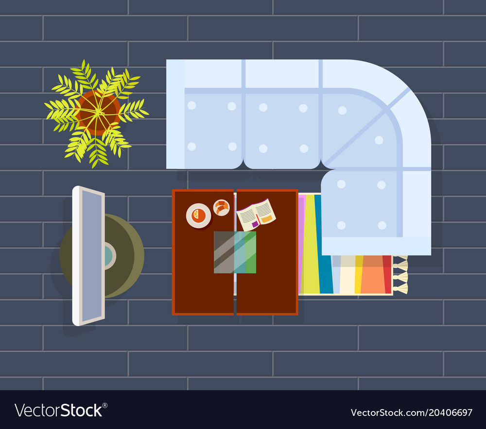 Living room planning dark vector image