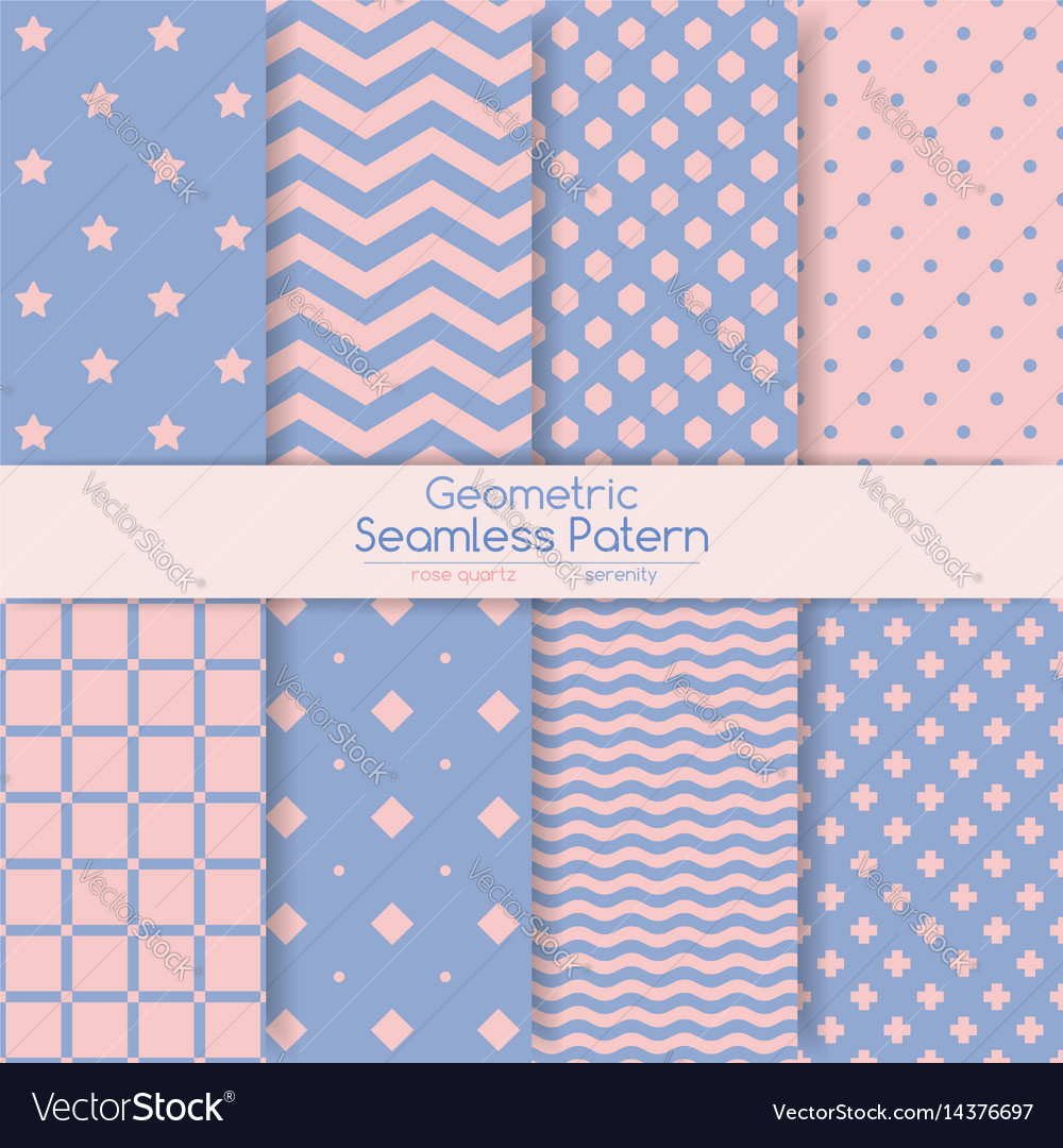 Set of 8 seamless geometric patterns